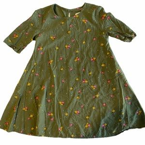 Old Navy Olive Green Small Floral Tunic Dress 5T